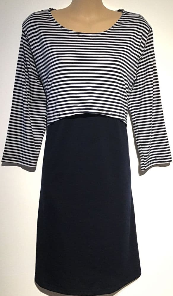 PATPAT NAVY STRIPED 3/4 SLEEVE MATERNITY NURSING DRESS BNWT SIZE M 12-14