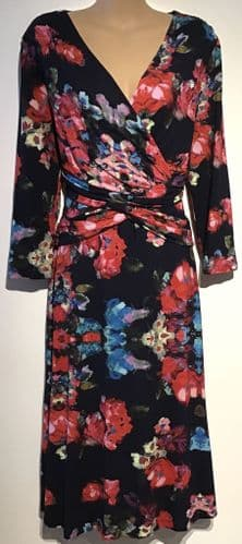 PHASE EIGHT NAVY FLORAL PRINT JERSEY WRAP DRESS SIZE 18