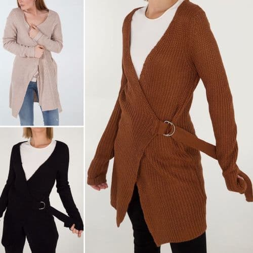 QED KNITTED D RING WRAP CARDIGAN BNWT SIZES 8-18