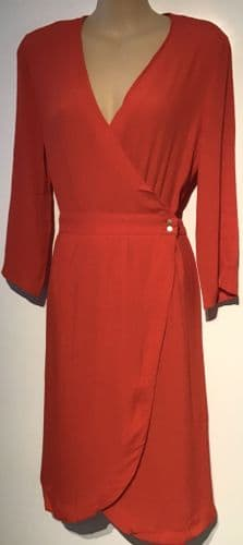 RED WRAP MIDI POPPER DRESS BNWT SIZES 8, 10 & 12