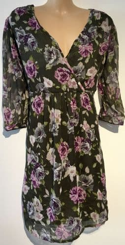 REDOUTE KHAKI ROSE PRINT WRAP TUNIC TOP NEW SIZES 16-26