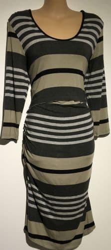RIPE GREY STRIPED JERSEY MATERNITY & NURSING DRESS SIZE L 14