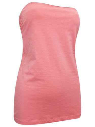 SALMON PINK JERSEY BANDEAU STRAPLESS TOP BNWT SIZES 10-24