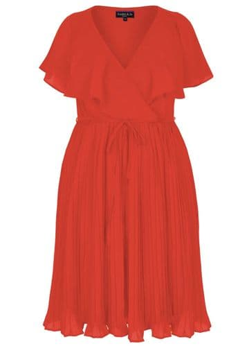 SCARLETT & JO RED CAPE SLEEVE CHIFFON PLEAT MIDI DRESS BNWT CURVY SIZES 20 & 28