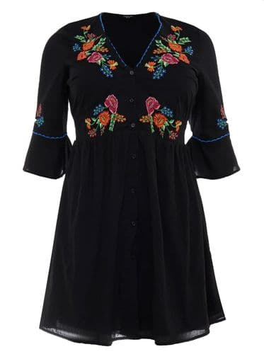 SIMPLY BE BLACK EMBROIDERED FLORAL SKATER SHIRT DRESS NEW SIZES 14, 16 & 22