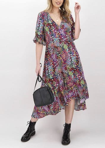 SIMPLY BE DITSY FLORAL WRAP MIDI DRESS NEW SIZES 12, 18 & 22