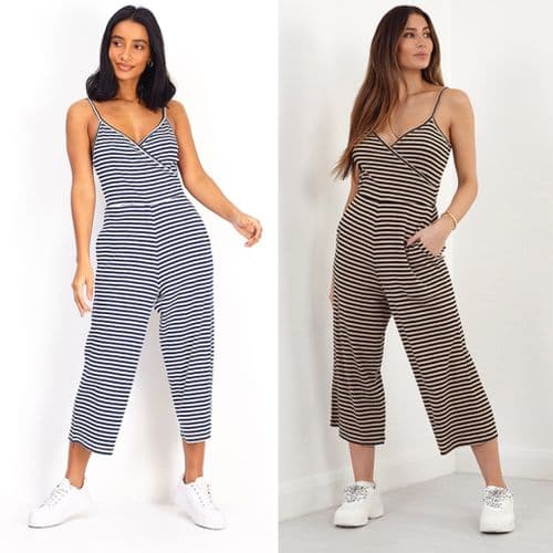 STRIPED JERSEY WRAP SLEEVELESS JUMPSUIT SIZE 8-16