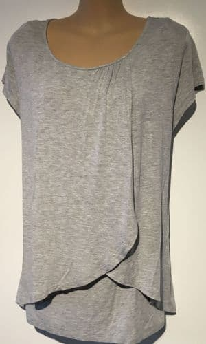 VERTBAUDET COLLINE GREY WRAP NURSING TOP SIZE UK 20-22