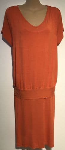 VERTBAUDET COLLINE MATERNITY/NURSING ORANGE JERSEY DRESS UK 14-16