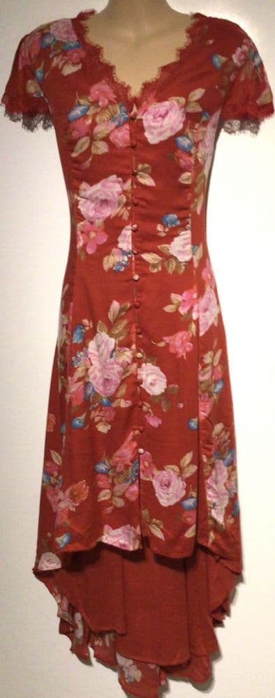 VERY RED FLORAL BUTTONED SUMMER MIDI DRESS BNWT SIZE 14