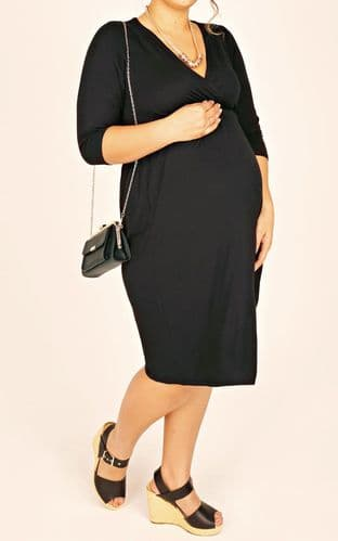 YOURS BUMP IT UP BLACK WRAP MATERNITY DRESS BNWT 18-24