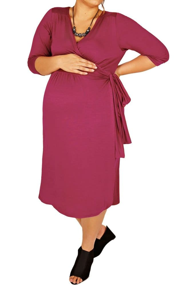 YOURS BUMP IT UP MAGENTA WRAP MATERNITY DRESS BNWT 16-24