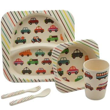 Bamboo Dinner Set - Cars