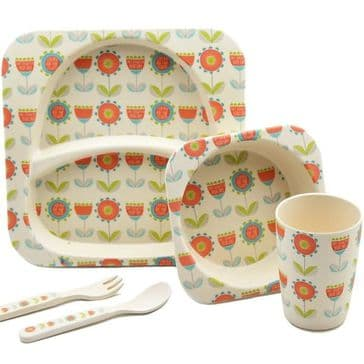 Bamboo Dinner Set - Flowers