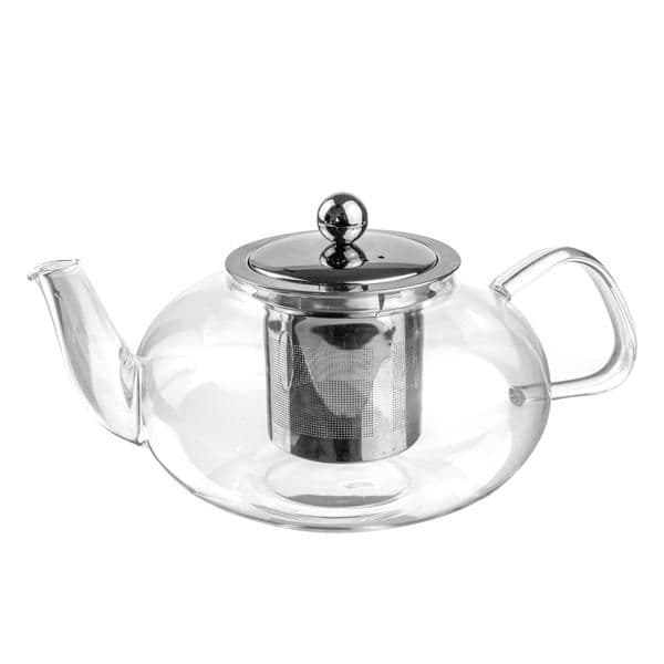 Clear Glass Infuser Teapot - 800ml - Oval