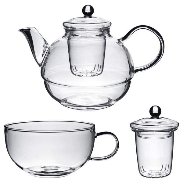 Glass Tea-For-One Tea Pot, Cup and Strainer Set