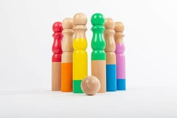 Rainbow Wooden Bowling Set
