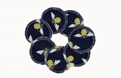 Reusable Fleece Face Pads - Navy Bee