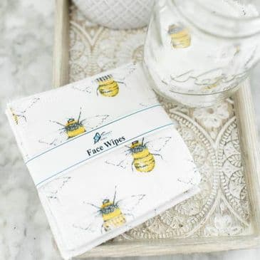 Reusable Terry Towling Face Wipe - White Bee