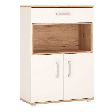 4KIDS 2 door 1 drawer cupboard with open shelf in light oak and white high gloss with lilac handles