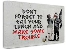 Banksy Framed Canvas Wall Art - Make Some Trouble