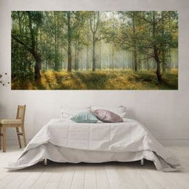 Panoramic Pastel Green Forest Scape