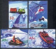 AAT 1998 Helicopter/Ski Buggy/Ship/Tracked Vehicle/Antarctic Transport/ Tractor/ Aircraft/ Aviation/ Nautical/ Motoring 4v set (n18276)