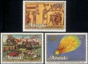 Aitutaki 1986 Halley's Comet/ Astronomy/ Space/ Books/ Bayeux Tapestry 3v set (n45155)