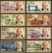 Ajman 1966 Sir Winston Churchill/ Military/ WWII/ People/ History/ Buildings / Architecture  8v set (n20284b)
