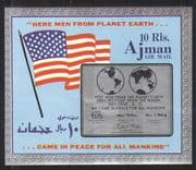 Ajman 1969  Space/ Apollo 11/ Moon Landing/ Flag/ Quote/ Maps  imperf m/s (s5317i)