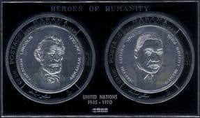 Ajman 1970  Martin Luther King/ President Lincoln/UN/ People  SILVER IMPERF m/s (s2825f)