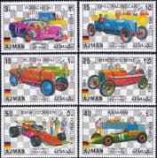 Ajman 1971  German Racing Cars/ Grand Prix/ Sports/ F1/ GP/ Motoring/ Transport  6v set (s5353)