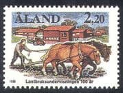 Aland 1988 Horses  /  Tractor  /  Farming  /  Ploughing  /  Animals  /  Nature  /  Buildings 1v (n28022)