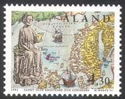 Aland 1995 St Olaf/ Statue/ Maps/ Sailing Ships/ People/ Transport/ Religion 1v (n41367)