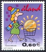 Aland 2002 Euro/ Coins/ Currency/ Economy/ Commerce/ Banking/ Business/ Animation 1v (n41532)