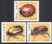 Aland 2005 Ladybird/ Chafer/ Beetles/ Insects/ Nature/ Conservation 3v set (n15315)