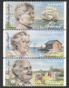 Aland 2009 Europa  /  Authors  /  Writers  /  People  /  Ships  /  Cattle  /  Transport 3v set (n39148)
