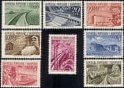 Albania 1953  Cotton Mill/ Canal/ Dam/ /Hydro/ Electricity/ Industry/ Buildings  8v set (n38525a)