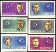 Albania 1963 Yuri Gagarin/ Tereshkova/ Titov/ Space/ Cosmonauts/ Astronauts/ People/ Transport 6v set imperforate (n43120)