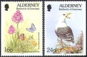 Alderney 1994 Butterfly/ Gull/ Orchid/ Birds/ Flowers /Insects/ Nature 2v ex bklt n20303