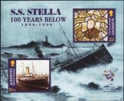 """Alderney 1999 SS """"Stella""""/ Ships/ Shipwreck/ Nautical/ Transport/ Stained Glass 1v m/s (n26160)"""