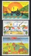 Algeria 1974 Tractor  /  Farming  /  Children's Art  /  Paintings  /  Buildings 3v set (n39216)