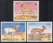 Algeria 1992 Gazelles  /  Deer  /  Animals  /  Nature  /  Wildlife 3v set (n39336)