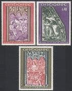 Andorra 1970 Art  /  Carving  /  Church  /  Angels  /  Religion 3v set (n34129)