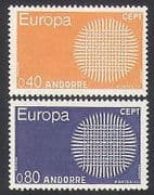 Andorra 1970 Europa  /  CEPT  /  Animation  /  Communications  /  Sun 2v set (n35750)