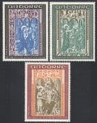 Andorra 1971 Art  /  Carving  /  Church  /  St John  /  Religion 3v set (n34130)