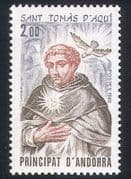 Andorra 1982 St Thomas Aquinas  /  Religion  /  Dove  /  Birds  /  Saints  /  Animation 1v (n39394)