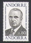 Andorra (French) 1976 Pompidou  /  People  /  Politicians  /  Politics 1v (n35731)