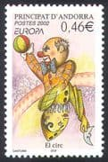 Andorra (French) 2002 Europa  /  Clown  /  Clowns  /  Circus  /  Animation 1v (s1840)