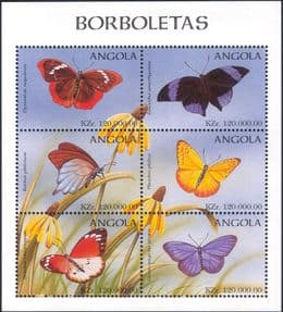 Angola 1998  Butterflies/ Insects/ Nature/ Butterfly  6v shtlt  (b7725a)